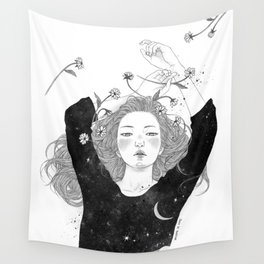 The night sky girl Wall Tapestry