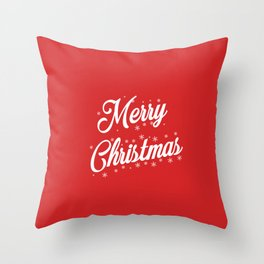 Merry Christmas with Snow Flakes on Red Background Throw Pillow