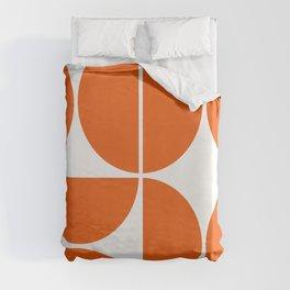 Mid Century Modern Orange Square Duvet Cover