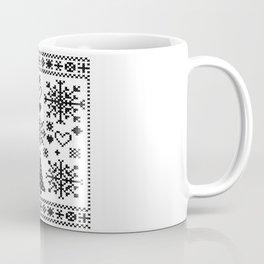 Christmas Cross Stitch Embroidery Sampler Black And White Coffee Mug
