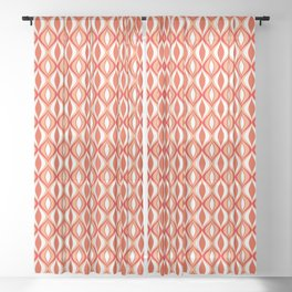 Mid-Century Modern Diamonds, Orange and White Sheer Curtain
