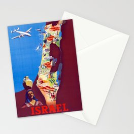 Israel - Vintage Air France Travel Poster 1950s Stationery Cards