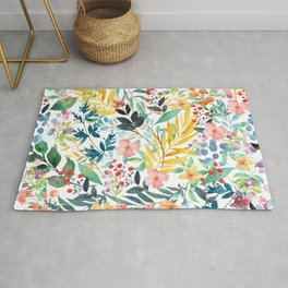 Colorful Watercolor floral pattern  Rug