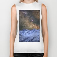 never stop exploring Biker Tanks featuring Never stop exploring mountains, space..... by Guido Montañés