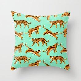 Bengal Tigers - Mint Throw Pillow