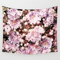 rose gold Wall Tapestries featuring Rose And Gold Floral by J&C Creations