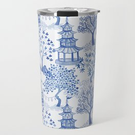 Pagoda Forest in Blue and White Travel Mug