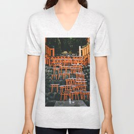 Japanese Mini Torii Shrines Unisex V-Neck
