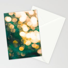 Green Turquoise Bokeh Blurred Lights Shimmer Shiny Dots Spots Circles Out Of Focus Stationery Cards
