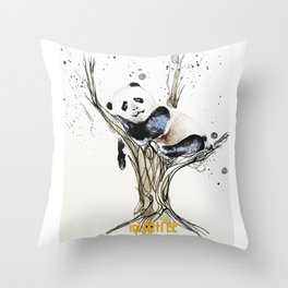 Panda in the Tree Throw Pillow