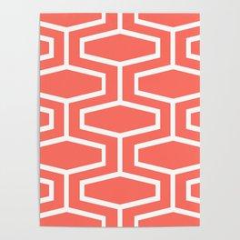 Coral Art Deco Geometric Pattern Poster