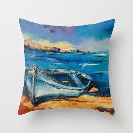 Blue Boat on the mediterranean beach Throw Pillow