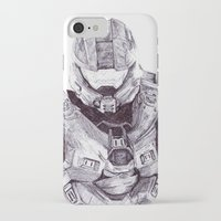 master chief iPhone & iPod Cases featuring Master Chief by DeMoose_Art