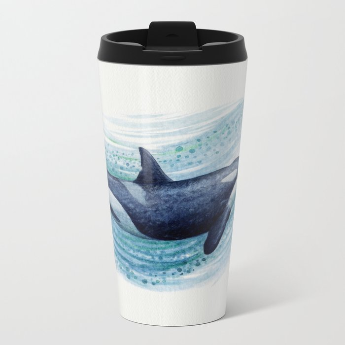 """Orca Spash"" by Amber Marine ~ Watercolor Killer Whale Painting, (Copyright 2016) Metal Travel Mug"