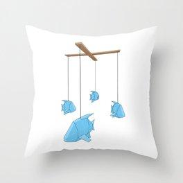 Papercraft Fish Mobile Throw Pillow