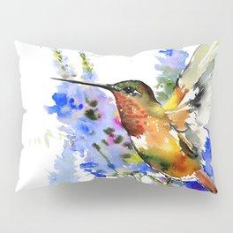 Alen's Hummingbird and Blue Flowers, floral bird design birds, watercolor floral bird art Pillow Sham