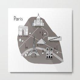 Mapping Paris - Grey Metal Print