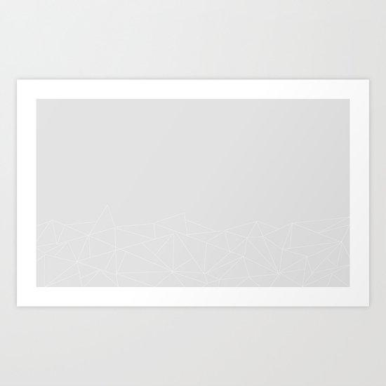 Geometric (White and grey) Art Print