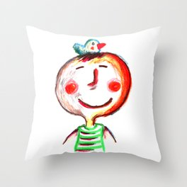A child with a bird on his head Throw Pillow