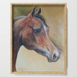 Arabian Horse portrait Brown horse head Oil painting Serving Tray