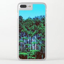 Green Tall Trees Blue Sky Clear iPhone Case