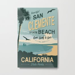 San Clement State Beach Travel Poster Metal Print