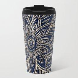 Cute Retro Gold abstract Flower Drawing  geometric Travel Mug