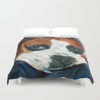 marley Duvet Covers featuring Marley the Boxer Dog Original Portrait Painting by Barking Dog Creations Studio