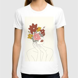 Colorful Thoughts Minimal Line Art Woman with Magnolia T-shirt