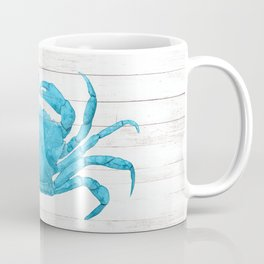 Nautical Blue Crab Driftwood Dock Coffee Mug