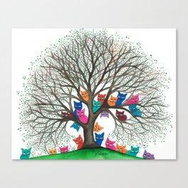 Connecticut Whimsical Cats in Tree Canvas Print
