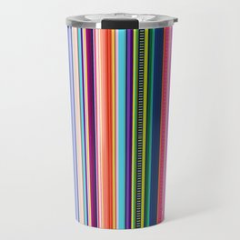 Mexican Serape Inspired Colorful Stripe Summer Fabric Travel Mug