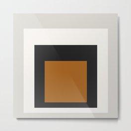 Block Colors - Black White Grey Ochre Metal Print