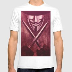 RED for VENDETTA MEDIUM White Mens Fitted Tee