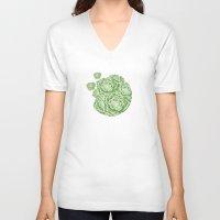 succulent V-neck T-shirts featuring Green Succulent by Capucine Sivignon
