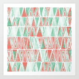 Modern Coral Pink Mint Green Tribal Triangles Art Print