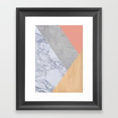 Blush Marble Wood Framed Art Print