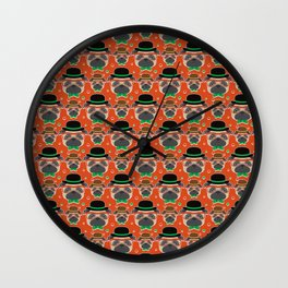 Hipster Pug Pattern Wall Clock