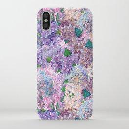 Purple and blue Lilac & Hydrangea - Flower Design iPhone Case