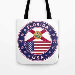 Florida, Florida t-shirt, Florida sticker, circle, Florida flag, white bg Tote Bag