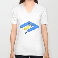tron V-neck T-shirts featuring Tron Wall by Krzysztof Kaluszka