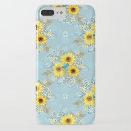 Beautiful Blue & Yellow Sunflowers iPhone Case