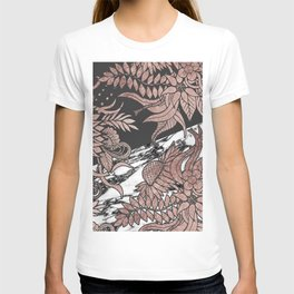 Rose Gold Flowers and Modern Black and Marble Cut T-shirt