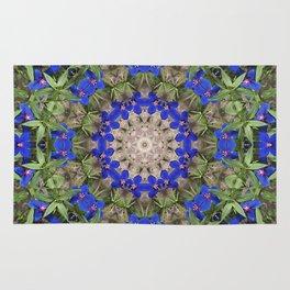 Peacock colors botanical kaleidoscope, mandala - Anagallis, Blue pimpernel flowers Rug