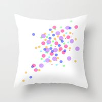 confetti Throw Pillows featuring Confetti by DuniStudioDesign