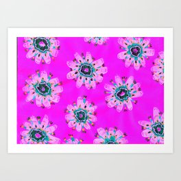 Neon Lilly Lace Rose Art Print