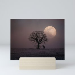 Father and Child Under a Winter Moon Mini Art Print