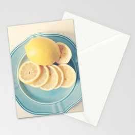 Lemons on Blue Stationery Cards