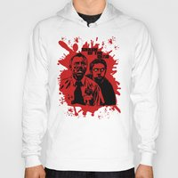 shaun of the dead Hoodies featuring Shaun of the dead blood splatt  by Buby87