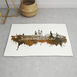 Cracow skyline city brown #cracow #skyline Rug